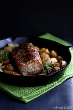This Thyme Crusted Pork Roast with Soy Caramel Sauce is dressed to impress! A humble pork roast is transformed into an out of this world main dish that couldn't be easier to create. A crust of pepper, salt and thyme envelopes the pork that is then roasted alongside baby Yukon Gold potatoes and onion wedges. A waterfall of soy caramel sauce is then poured over everything before it's returned to the oven to finish roasting.
