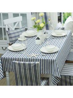 Blue Striped Cotton Table Cloth Mediterranean Style