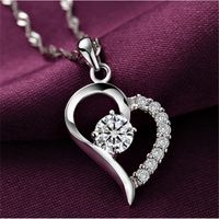 925 Sterling Silver Cubic Zirconial Brand Love Heart Shape Pendant Necklaces…