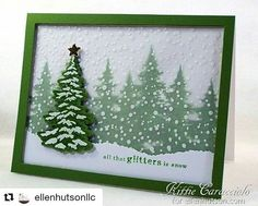 Simply beautiful!  #Repost from @ellenhutsonllc ・・・ Did you see @kittie_kraft's pink Christmas card yesterday?  Well, she's got a gloriously green version on the #EllenHutsonLLC blog today.  She uses the @heroarts Color Layering Snowy Tree set that is currently 10% off in our shop--boo yah!  Get all the details on our blog (link in bio). ❄️
