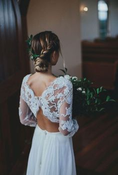 This looks like one of our Sweetheart samples! Beautiful lace sleeves and keyhole back! #angelbride #yourdressishere angeliquesbridal.com