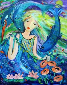 Pisces by Ronnie Biccard Virgo, Pisces Girl, Pisces Man, Aquarius, All About Pisces, Water Nymphs, Two Fish, Goddess Art, Expositions