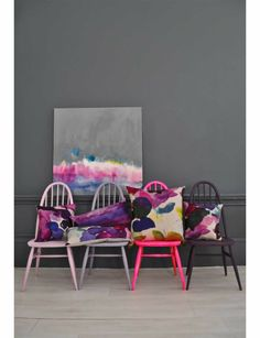 Grey Wall and neon chair