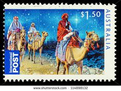 Stock Photo - Vintage canceled postage stamp with Christmas nativity illustration. Christmas Nativity, Noel Christmas, Christmas Images, Aussie Christmas, Australian Christmas, Christmas In Australia, We Three Kings, Commemorative Stamps, Postage Stamp Art