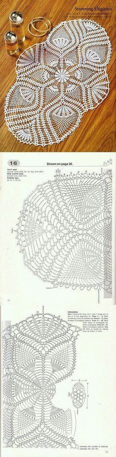 Knitting by a hook. Col Crochet, Crochet Doily Diagram, Crochet Dollies, Crochet Doily Patterns, Crochet Chart, Crochet Home, Thread Crochet, Irish Crochet, Crochet Motif