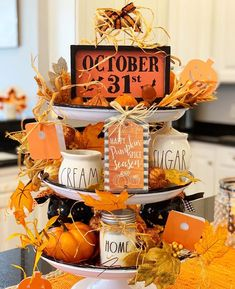 For those who may be limited on space for decorating, using a tiered platter gives you endless options! It's just a great way to group or showcase some of your favorite things! Halloween Home Decor, Halloween House, Fall Home Decor, Holidays Halloween, Halloween Crafts, Halloween Decorations, Halloween Ideas, Thanksgiving Decorations, Seasonal Decor
