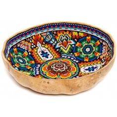 Huichol Gourd Bowl Beaded by Juan Villa Totem Pole For Sale, Rum, Bead Bowl, Art Rules, Decorative Gourds, Painted Gourds, Mexican Designs, American Indian Art, Indigenous Art