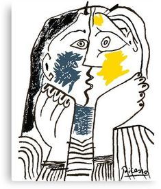 Pablo Picasso Kiss 1979 Artwork Reproduction For T Shirt, Framed Prints Canvas Print