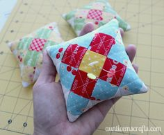 """""""Make a mini granny square pincushion for your sewing swap and keep one for yourself! These are too cute to pass up."""""""