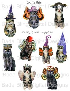Cats In Hats... a digital collage sheet of by BadaBlingDigitalArt