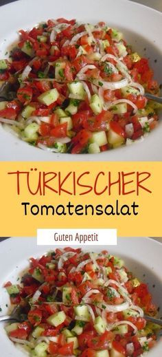 Zutaten 100 g Zwiebel(n) ½ TL Salz 500 g Tomate(n) 250 g Gurke(n) 1 kleine Pepe… – Salade Salades Composées Salades Nederlands Salad Recipes For Parties, Salad Recipes Healthy Lunch, Salad Recipes For Dinner, Chicken Salad Recipes, Healthy Salad Recipes, Vegetarian Recipes, Drink Recipes, Easy Recipes, Greens Recipe