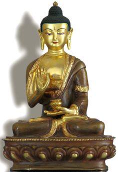 Amoghasiddhi 19 cm teil feuervergoldet Buddha Statue