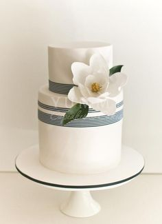 Hampton Chic Style Wedding Cake, Yummy Cupcakes & Cakes, nautical theme w/ magnolia sugar flower