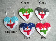 Christmas snowman, tree ornaments, felt snowman, home decor, felt christmas ornaments, felt ornament, embroidery handmade, PRICE PER 1 ITEM - ornament with loop (or magnet) Christmas snowman, christmas tree ornament, Applique Ornaments, home decor, handmade embroidery Felt is a very soft, pleasing and environmentally friendly material. Felt ornament look great in any room. This ornament will serve you for a long time, you can take it away and hang again! It will be a perfect gift or decor...