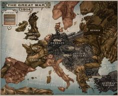 A political caricature map depicting different nations in the alternate world history of the book Leviathan by Scott Westerfeld. The Clanker Powers: Ger. Caricature Map of Europe 1914 Maps History, Ww1 History, World War One, First World, Steampunk Kunst, Fantasy Map, Final Fantasy, Wow Art, Hilarious Pictures