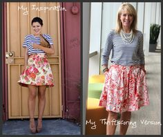 My latest outfit recreation! Stripes and print!  Right now I'm loving the new stripes and print combo that I'm seeing everywhere! I found this cute outfit on Pinterest for inspiration and was able to recreate it using a few pieces from my closet and a skirt I was able to thriftscore at The Goodwill.  And since I was able to get the skirt at 50% markdown, my total cost tor recreate this outfit was 2.75!