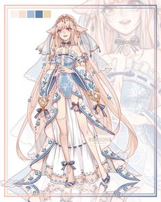 Adoptables by Rurucha on DeviantArt Fantasy Character Design, Character Design Inspiration, Character Art, Anime Fantasy, Fantasy Girl, Anime Dress, Drawing Clothes, Fashion Art, Fashion Design