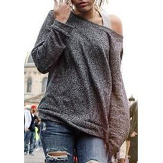 Alluring Women's Long Sleeve Jewel Neck Solid Color T-Shirt (AS THE PICTURE,L) in Long Sleeves | DressLily.com