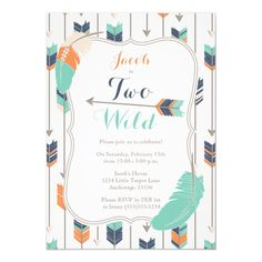 Wild ONE Tribal Arrows Birthday Party Blue Green Card Wild ONE Tribal Arrows First Birthday Party Blue Green and Orange Boho Invitation. Blue Birthday Parties, Wild One Birthday Party, First Birthday Photos, 3rd Birthday, Birthday Ideas, Happy Birthday, Birthday Party Checklist, Photo Birthday Invitations, Wedding Invitations