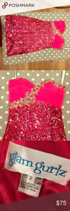 Strapless sequin pink dress Strapless pink sequin shirt gown with sweetheart neckline and beading details at top.  It's a size 2 but will fit size 0/2/4.  Looks great on! Glam Gurlz Dresses Mini