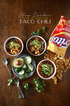 This slow cooker beef chorizo taco chili is packed full of flavor and perfect for cold winter nights. Serve topped with avocado, cheese and corn chips.