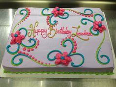 Scrolls and flowers girly birthday cake