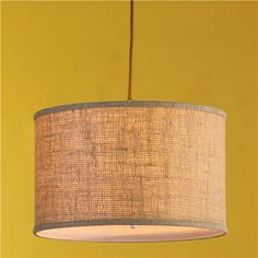 """16"""" Burlap Drum Shade Pendant - 3 colors. Other lighting to put near over stuffed chairs or couch?"""