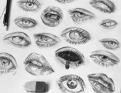art inspo Portraits Features and Drawings Studies. To see more, larger size art and information about Tomasz Mro, click the image. Sketchbook Drawings, Pencil Art Drawings, Cool Art Drawings, Drawing Sketches, Drawing Tips, Eye Sketch, Drawings Of Eyes, Drawing Ideas, Pencil Sketching
