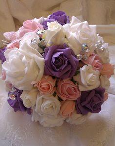 Foam Rose & Pearl Bouquet £45  www.flowersbypurplehaze.com