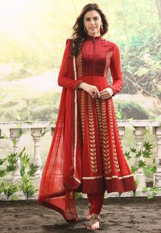 Lovely red high neck faux georgette anarkali