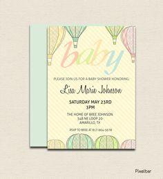 Printable Baby Shower Invitation No.4 Stripes and Hot Air Balloons Vintage. $10.00, via Etsy.