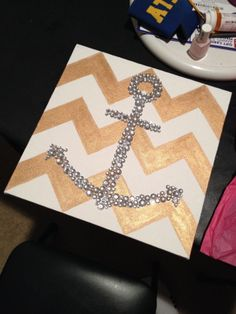 bedazzled anchor, gold chevron canvas; a diamond would be cute too