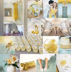 Soft blue and yellow - almost gold....??  I like it.  Makes it seam more appropriate for a spring wedding.