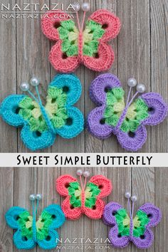 How to Crochet Sweet Simple Butterfly Free Pattern and YouTube Video DIY Tutorial by Donna Wolfe from Naztazia