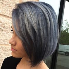 Black+Bob+With+Gray+Balayage
