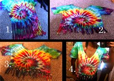 DIY Tie Dye Cropped Fringe T-shirt w/ Beads  After Tie Dying the shirt the way you like:  Step 1: Mark how high you want to cut your fringe on the shirt. Cut as many long vertical strips into the shirt as you'd like, I cut through the front and back at the same time to make sure the strips were even and shorten the time it takes. After you cut your fringe, gently tug each tassel to give it that slightly rolled look  Step 2: Cut the fringe to the length you want it  Step 3: String on the b...