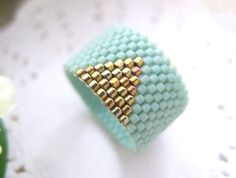 Mint Ring Beaded Band with Gold Triangle by JeannieRichard on Etsy, $30.00 #mint #ring