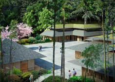 Image 14 of 15 from gallery of Kengo Kuma Designs Cultural Village for Portland Japanese Garden. Photograph by Kengo Kuma & Associates Portland Garden, Portland Japanese Garden, Portland Oregon, Kengo Kuma, Hotel Architecture, Amazing Architecture, Japanese Architecture, Architecture Details, Landscape Architecture