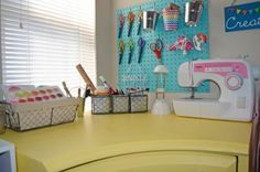 Fun Craft Room Tour with CJ of Coastal and Crafty! Check out her colorful and organized crafting corner for tons if craft room inspiration! Craft Paint Storage, Fabric Storage, Craft Organization, Diy Storage, Inexpensive Flooring, Craft Shed, Small Craft Rooms, Rag Rug Tutorial, Space Crafts