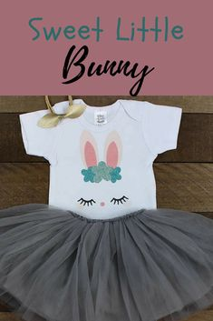 This adorable Easter Bunny shirt is made with a sweet Bunny Face, perfect for your little one, this Easter! Easter Bunny Dress | Girl's Easter Outfit | White puff sleeve Easter shirt with Gray Tutu Skirt | Sweet Bunny Face Dress | Easter Dress $17+ #ad #easter #bunny #dress #girl #spring