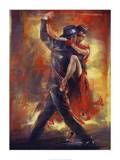 Tango Argentino Poster Print by Pedro Alvarez Art by Room Bedroom People Cultural Dance Modern Men Women Tango Hispanic Decorating Ideas Performing Arts Romantic Passionate