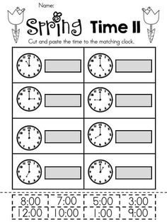 Spring Time II >> Telling Time to the Hour >> Part of the Spring Kindergarten Math Worksheets Packet >> Common Core Aligned