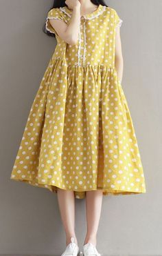 Women loose fitting over plus size dots yellow dress long pocket tunic pregnant #Unbranded #dress #Casual