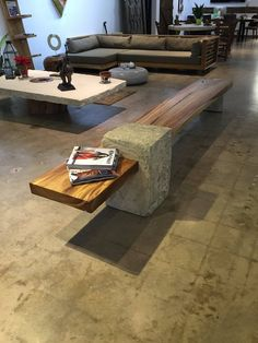 Design crafted wood bench with stone base - Wood Project Wood Furniture Legs, Concrete Furniture, Unique Furniture, Rustic Furniture, Urban Furniture, Diy Furniture Projects, Wood Projects, Bois Diy, Concrete Table