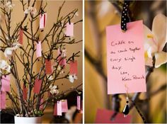 Creative Wedding Ideas: Words of Wisdom Keepsakes - A Wishing Tree - Check out more creative ideas at blog.weddingsnap.com !!