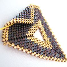 Purple with Gold Peyote Triangle Pendant and Choker (2270) - A Sand Fibers Made-to-Order Creation by SandFibers on Etsy https://www.etsy.com/listing/62671478/purple-with-gold-peyote-triangle-pendant