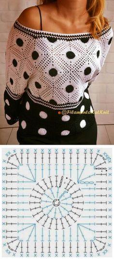 (15) Pinterest | Сумки | Postila Crochet Wrap Pattern, Granny Square Crochet Pattern, Crochet Flower Patterns, Crochet Diagram, Crochet Stitches Patterns, Crochet Chart, Crochet Squares, Gilet Crochet, Crochet Cardigan