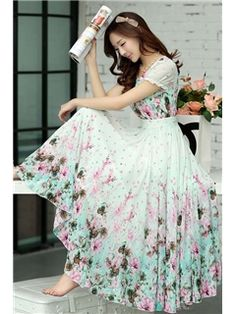 2014 Charming Round-Neck Puff Sleevele Print Maxi Dresses Maximum Style- ericdress.com 10959353