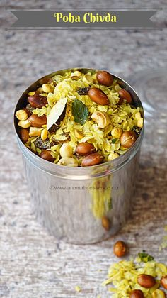 Poha chivda is basically a sweet and spicy, Indianized version of a trail mix. Poha ( flattened rice) is combined with dried fruits, coconut and raisins and tempered with mustard seeds, curry leave… Indian Snacks, Indian Food Recipes, Vegetarian Recipes, Snack Recipes, Cooking Recipes, Healthy Recipes, Indian Appetizers, Cooking Tips, Dry Snacks