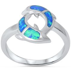 CloseoutWarehouse Overlapping Pattern Blue Simulated Opal 925 Sterling Silver Size 9